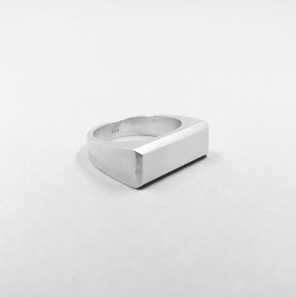 Angular Signet Ring - 925 Sterling Silver
