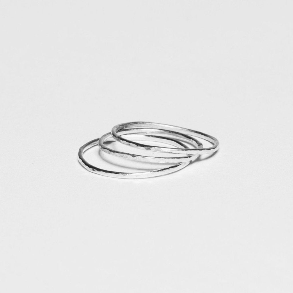 Hammered Stack Rings - 925 Sterling Silver