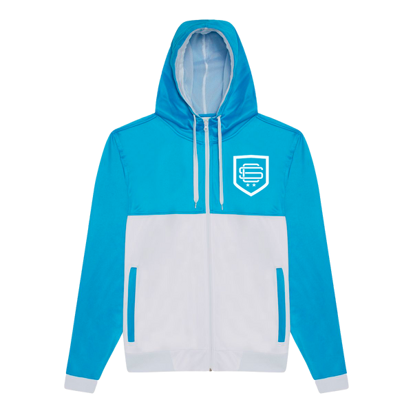 Blue/White Shield Full-Zip Hoodie