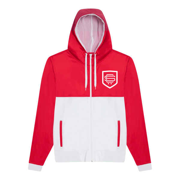 Red/White Shield Full-Zip Hoodie