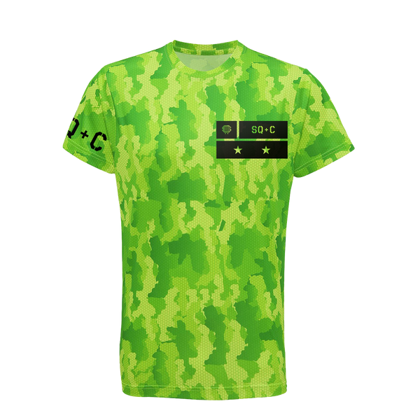 SqC Tech Shirt Electric Green Camo
