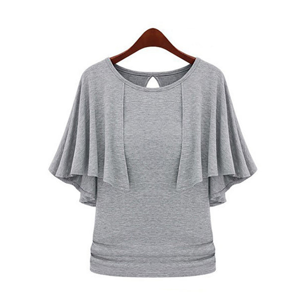 2016 New Summer Solid Fashion Cloak O-Neck Women Cotton Blend Slimming Stretchy Tops