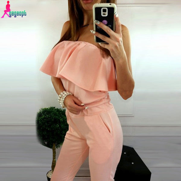 2016 Brand Jumpsuit Romper Bodysuit Women Elegant Style Bodycon Sexy Long Ladies Ruffle Off Shoulder