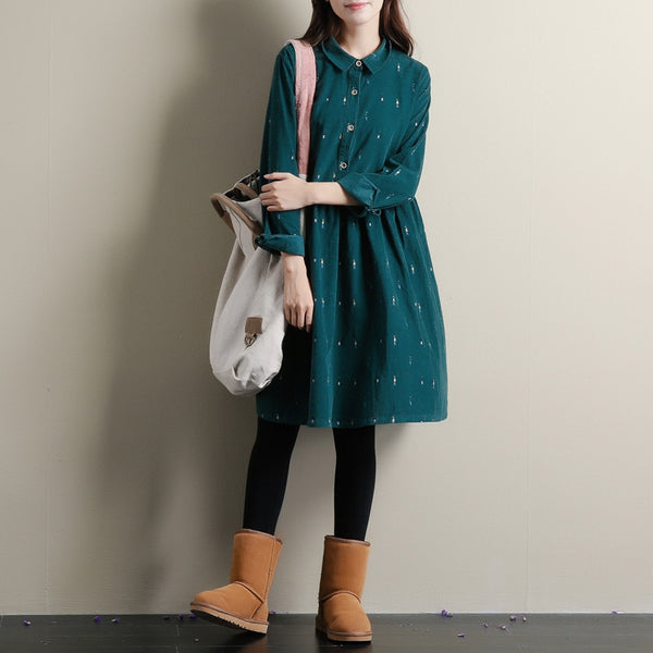 Autumn Dresses Green Color Casual Loose Turn Down Collar Corduroy Cotton Dress