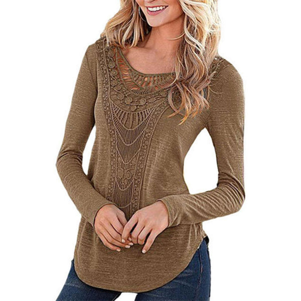 2016 New Fashion Women Ladies Casual Loose Crochet T Shirt Sexy Hollow Out Long Sleeve .