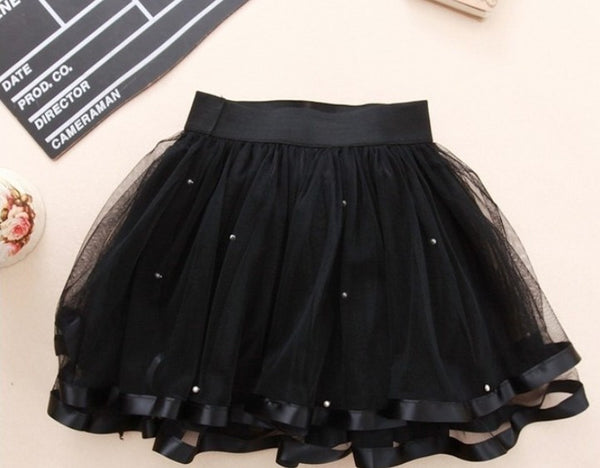 chiffon ball gown girls tutu skirt beading black tutu skirts girl