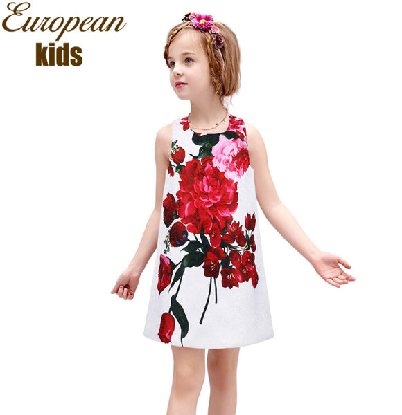 Baby Girl Clothes Princess Dress Summer 2016 Toddler Girls Dresses Floral Print Kids Dresses
