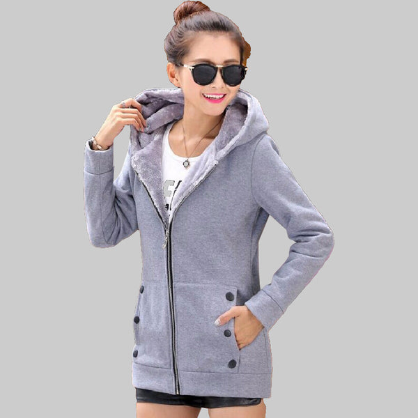 2016 Autumn Winter Women Hoodies cotton mixed Zip-up zipper Solid Full-Sleeve Hooded Casual