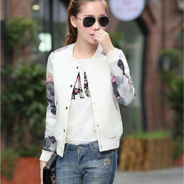2016 Flower Print Leisure Jacket Women Round Collar Button Thin Bomber Jacket