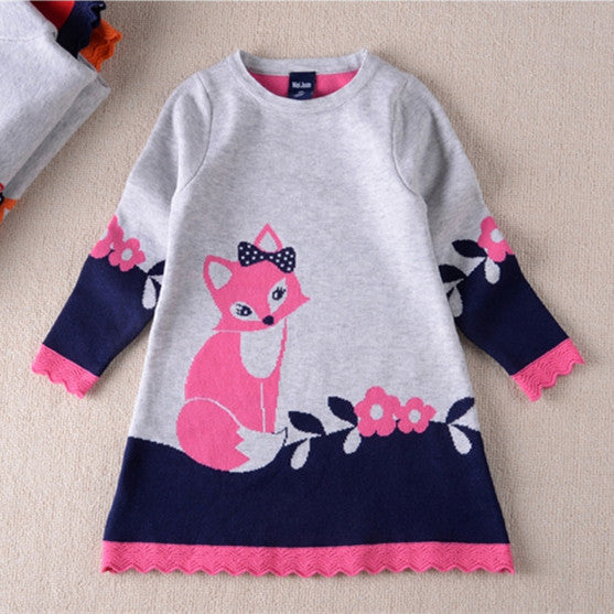 2016 Autumn & Winter New Double-layer Long-sleeve Kids Thick Girl Fox Sweater Dress.