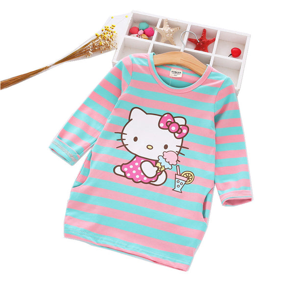2016 Autumn Girls Dress Hello Kitty Cartoon Kids Dresses For Girl Clothes.