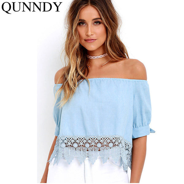Elegant Blue Off Shoulder Female Blouse Shirt Sexy Summer 2016 Blouse Women Tops