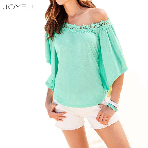 JOYEN Cotton T Shirt Women Tops Brand Summer Ruffles Bat Sleeve White T-Shirt Shirts