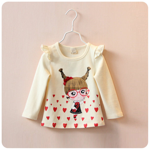 Girl T shirt Cartoon Girl  tops and blouses Kids Long Sleeve Shirt Tops Clothes Girls Blouse