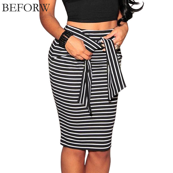 BEFORW Brand Skirts Womens Fashion High Waist Stripe Lacing Sexy Bodycon Long Skirt