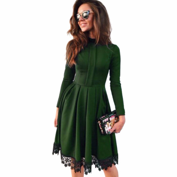 2016 Autumn Winter New Fashion Women Sexy Long Sleeve Slim Green Party Dresses.