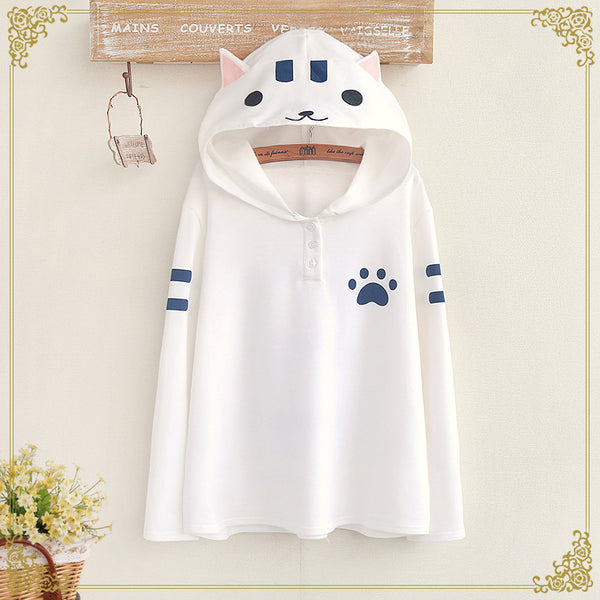 2016 New Real Appliques Regular Cotton Cute For Cat Pattern Hooded T-shirt