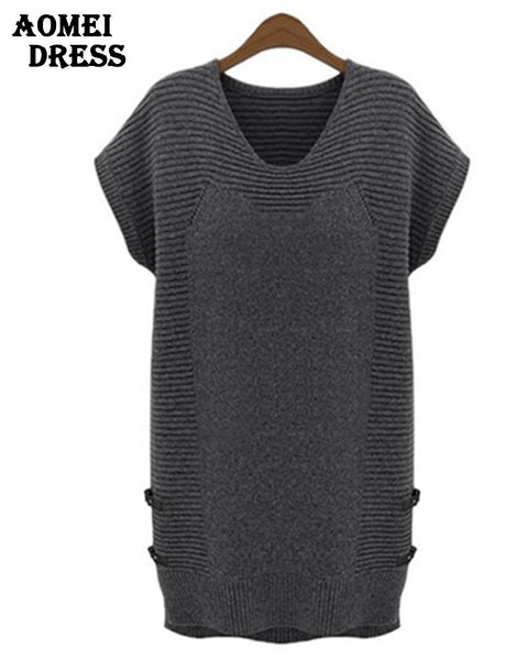 2016 Winter Autumn Jumpers Dress Sweater Casual Knitted Plus size European