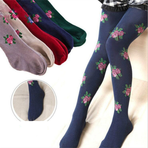 Large Floral Cotton Girls Tights 2016 Kids New Arrivals Pantyhose Winter Warm Stockings