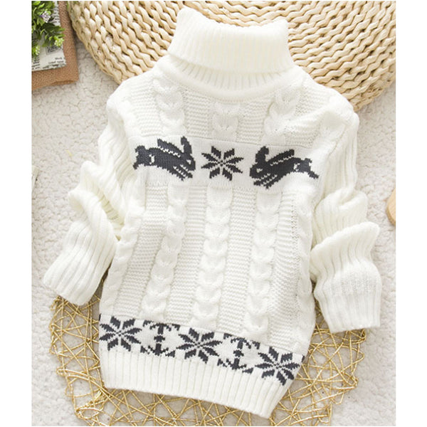 Hot Sale Winter Kids Infant Baby Cartoon Sweater Girls Clothes Turtleneck Sweaters
