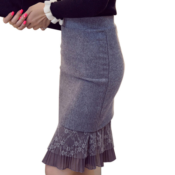 Gray Black High Waist Skirt Womens Autumn Winter Slim Pencil Skirt Lace Women Skirts