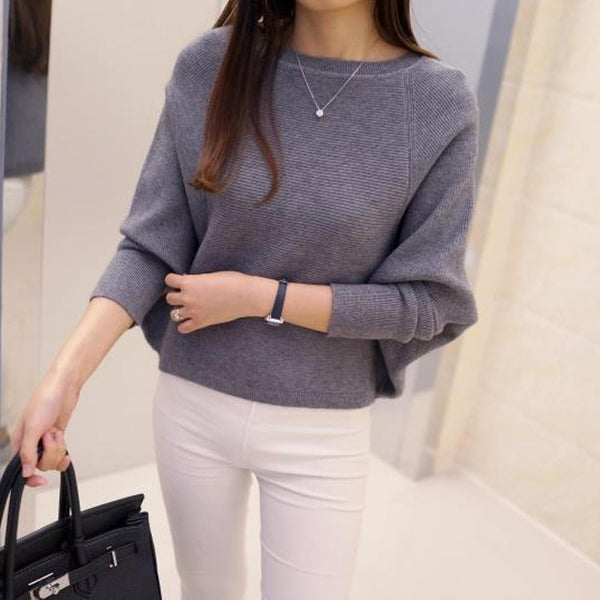 2016 Korean  new women's low collar loose solid size sweater pullover
