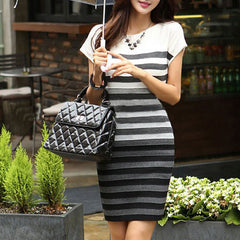 2016 Spring Women Casual Dress Fashion Striped Short Sleeve O-Neck Gradient Knitting Dresses