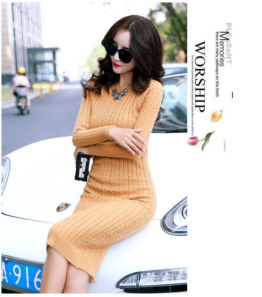 New Autumn Winter Slim Tight Stretchy Knitted Dress ,Sexy Casual Long Maxi Sweaters Dress