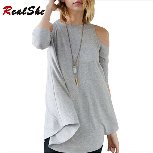 2016 New Arrivals T Shirts Women  Round Neck Off The Shoulder Tops