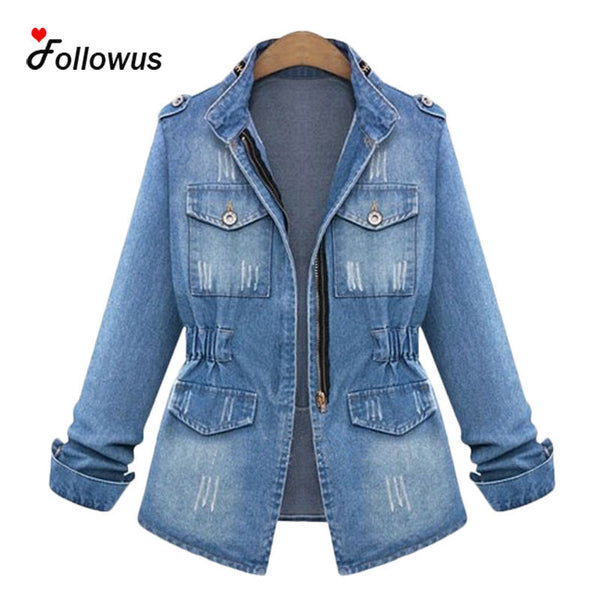 Blue Denim Basic Coats Spring Autumn New Women 2016 Fashion Black Casual Jacket Outwear