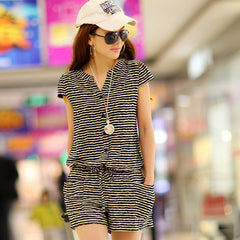 2016 Summer Fashion Women Casual Jumpsuits Short Sleeve Elastic Waist V neck Rompers