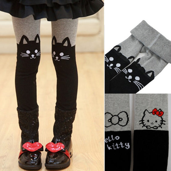 Children Tight Winter Stockings Thick Tights For Girls Pantyhose Hello Kitty Cat Cute Cartoon