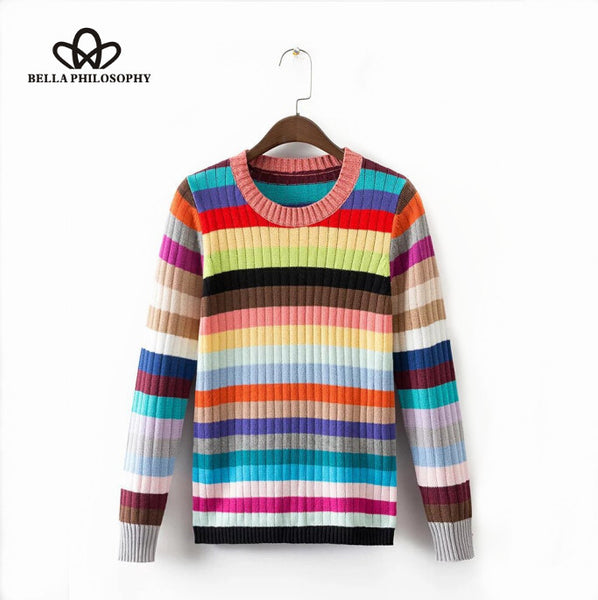 2016 autumn witner new rainbow striped knitting O-neck women sweater pullovers colorful