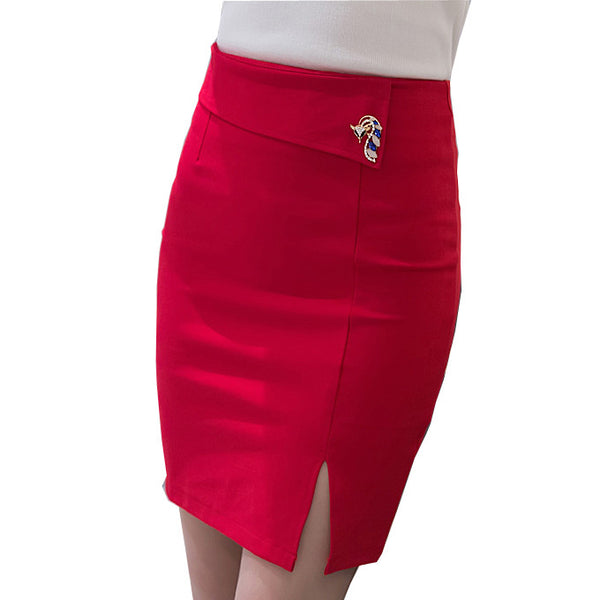 Slim 2016 Spring New Women Pencil Skirt High Waist Stretch fabrics Split Back