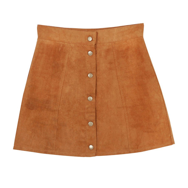 Summer Women Skirts Faux Suede A-Line High Waist Bodycon Button