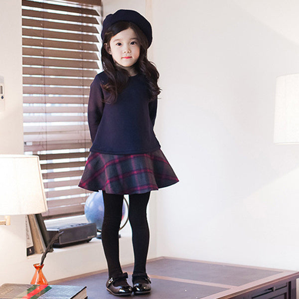 2016 Autumn/Winter Girls Dresses Cotton Long Sleeve Plaid Toddler Children Dress