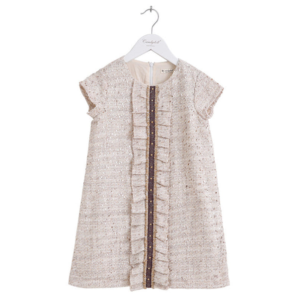 Children Spring and Autumn Dresses New Fashion 2016 Candydoll Lace Ruffle Rivets Short Sleeve