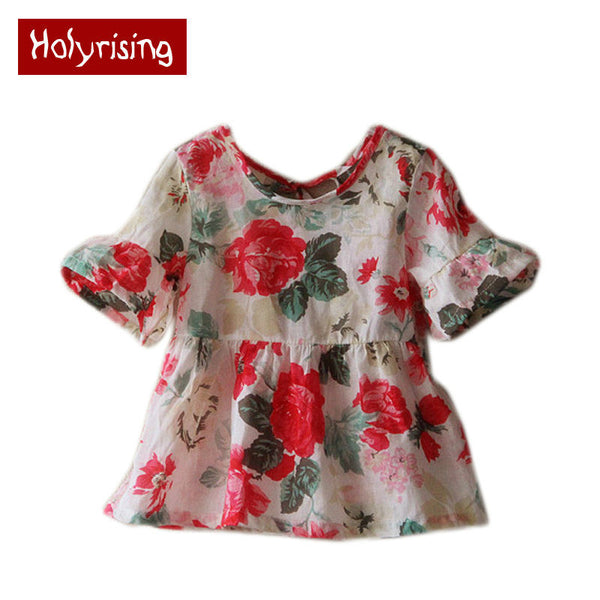 2016 Children Clothing Child Shirts Floral Pattern Retro Blouse Round Neck Trumpet Sleeves