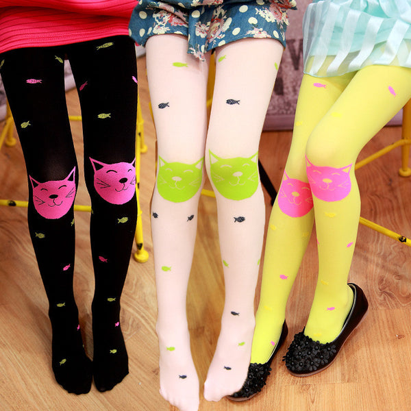 Spring girls tights beautiful thin girl pantyhose cute cartoon cat kids knee high socks