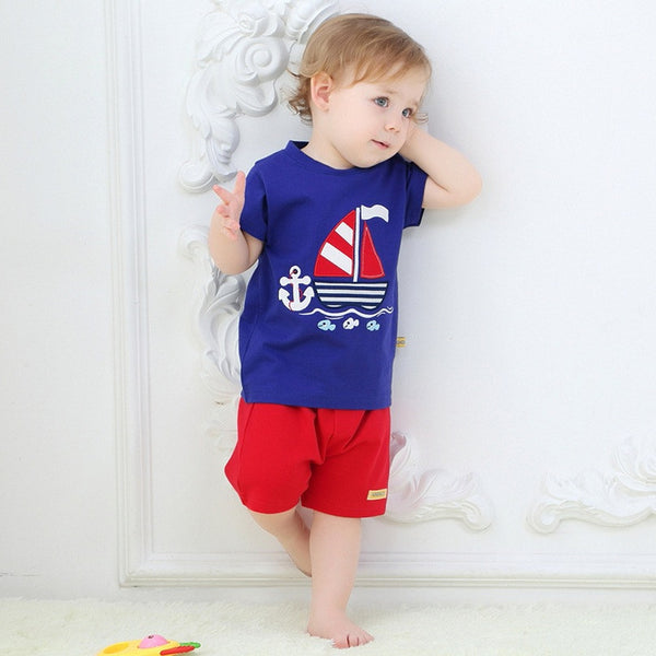 100% Cotton Cartoon Baby Sets 2017 Spring Summer Casual Loose Boys Short Sleeve T-Shirt + Shorts
