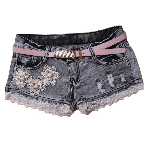 2016 Denim Shorts Women Stitching Lace Jacquard Pearl Inlay Shorts.