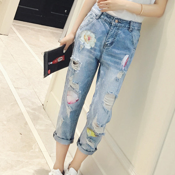2016 New Women Jeans Fashion jeans long holes waist pants