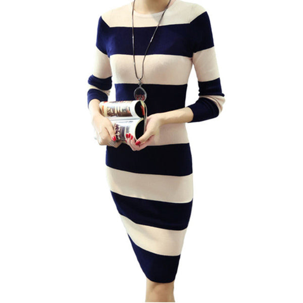2016 Striped Women Autumn Winter Sweater Dress Long Knitted Slim O-neck Bodycon Dresses