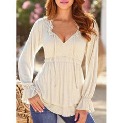Spring New Fashion Women Long Sleeve T-shirt Sexy V Neck Ruffled