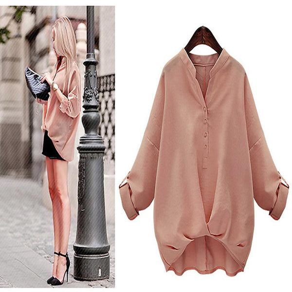 Fashion autumn girl shirt with irregular women blouse long sleeve shirt women casual shirt