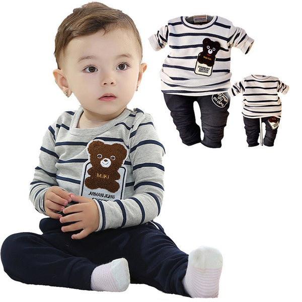 2016 spring baby boys girls cartoon bear clothing sets sports t-shirt + pants