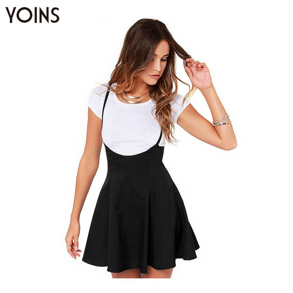 2016 Women Fashion Black Skater Skirt with Shoulder Straps Pleated Hem Braces Skirt