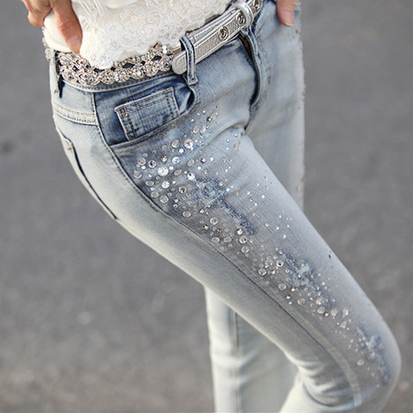 New 2016 Women Fashion Diamond Jeans Casual Denim Pants Woman Skinny jeans