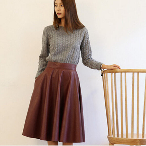 Woman PU Leather Skirt 2016 New Fashion Woman Spring Vintage Large Swing