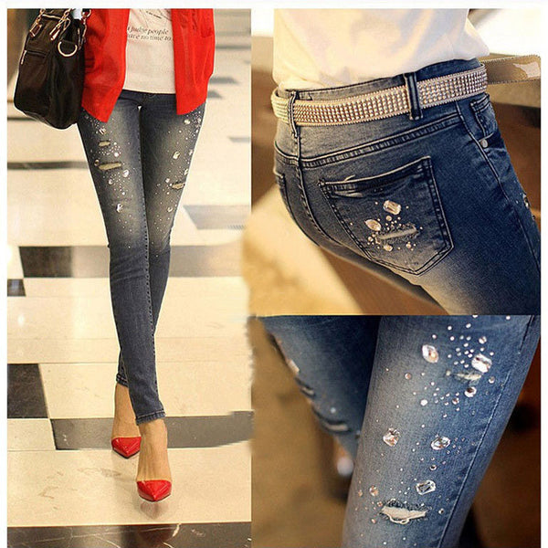 new Autumn winter Rhinestone Beading Jeans woman ripped hole jeans pants, denim pencil pants